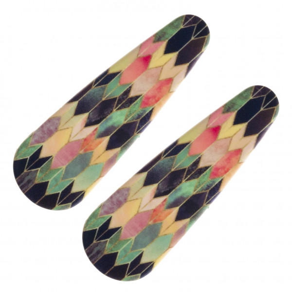 "Flexible matte plastic hair clip featuring a multicolor pattern detail. Pack includes two clips. Approximately 2"" in length."