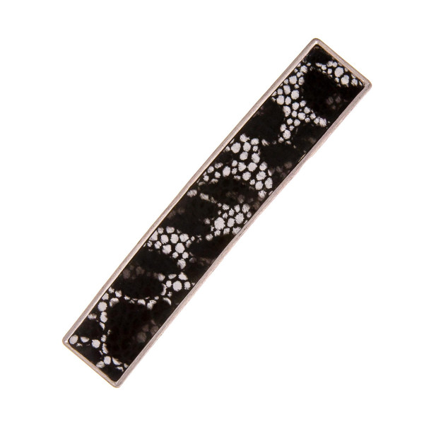"""Faux leather hair barrette with leopard print details. Approximately 3"""" in length."""