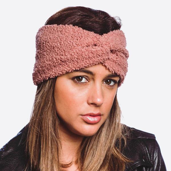 Wholesale solid sherpa fleece headband One fits most Acrylic