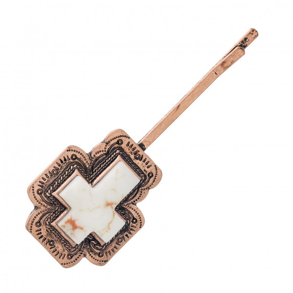 """Western style hair pin accessory featuring natural stone inspired details. Approximately 2"""" in length."""