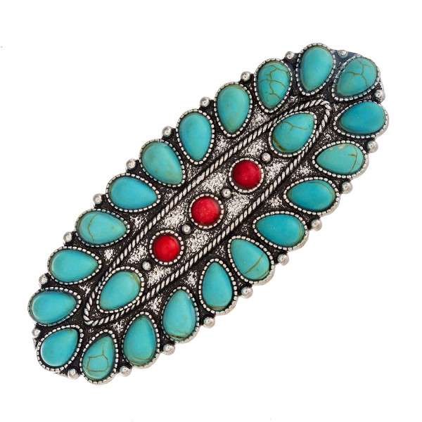 """Western style hair barrette with natural stone details. Approximately 3"""" in length."""