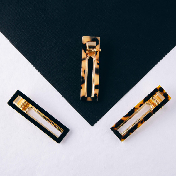 """Rectangle resin hair clip. Approximately 2.5"""" in length."""