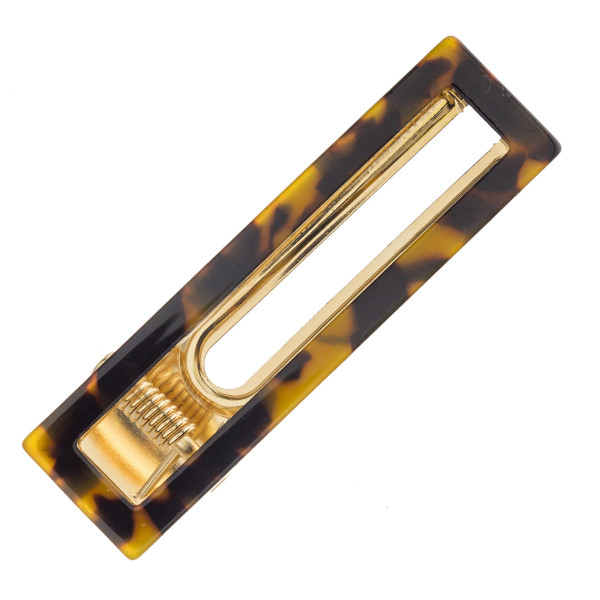 "Rectangle resin hair clip. Approximately 2.5"" in length."