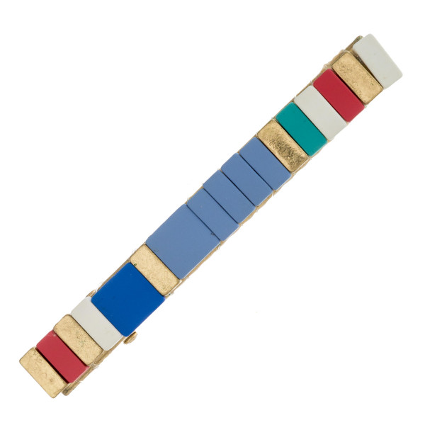 "Color block hair clip. Approximately 3"" in length."