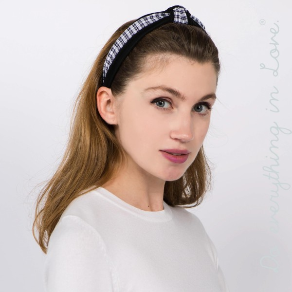 Do everything in Love brand knotted plaid headband.  - One size fits most  - 100% Polyester