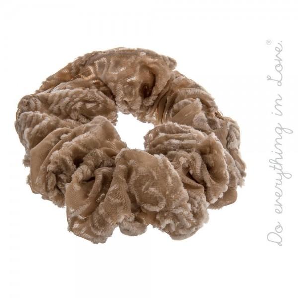 Wholesale do everything Love brand velvet print hair scrunchie One Polyester
