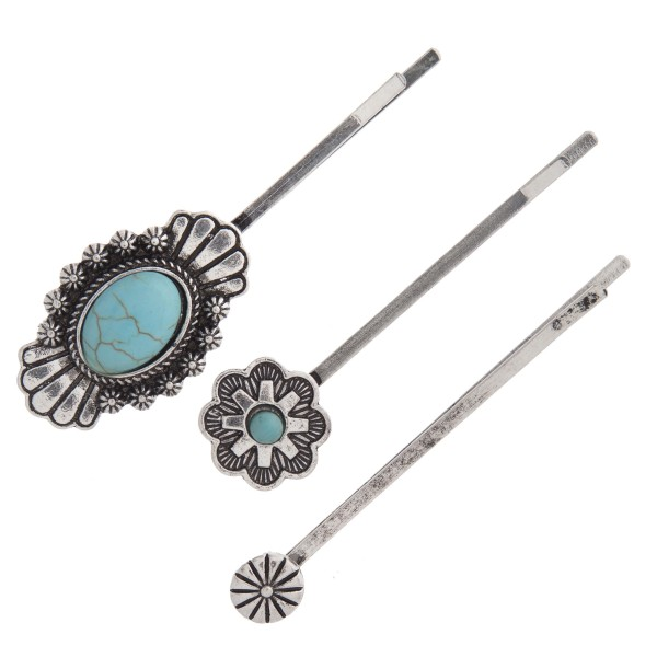 """Turquoise flower hair pin set of three. Approximately 2.5"""" in length."""