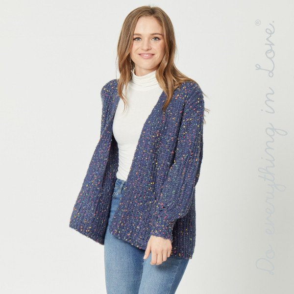 "Do everything in Love brand short chunky confetti knit cardigan with front pocket details.  - One size fits most 0-14 - Approximately 23"" in length - 100% Polyester"