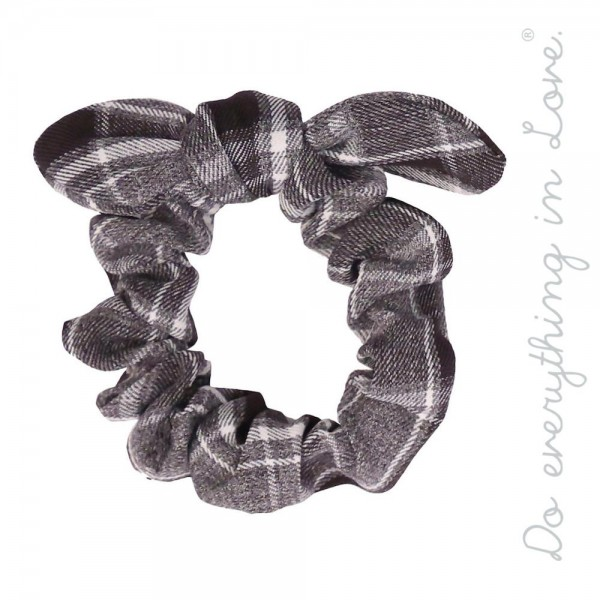 Do everything in Love brand plaid print bow tie hair scrunchie.  - One size  - 100% Polyester
