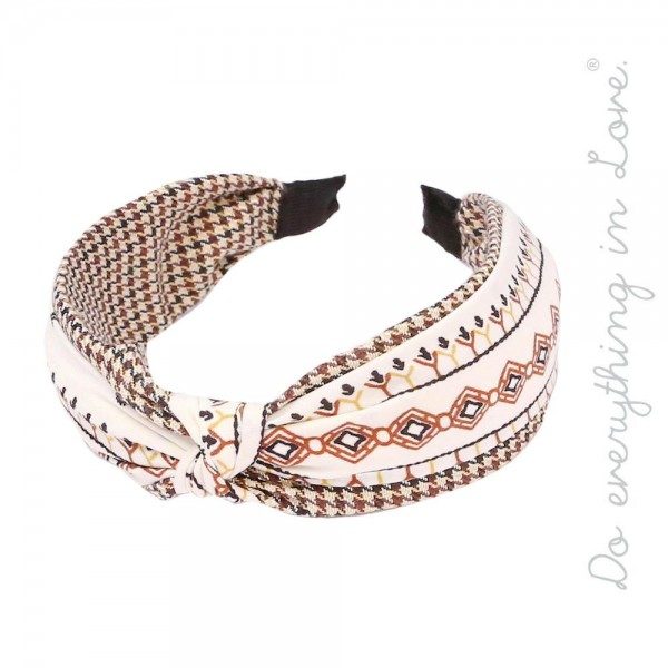 Do everything in Love brand tribal print houndstooth knotted headband.  - One size fits most adults - 100% Polyester