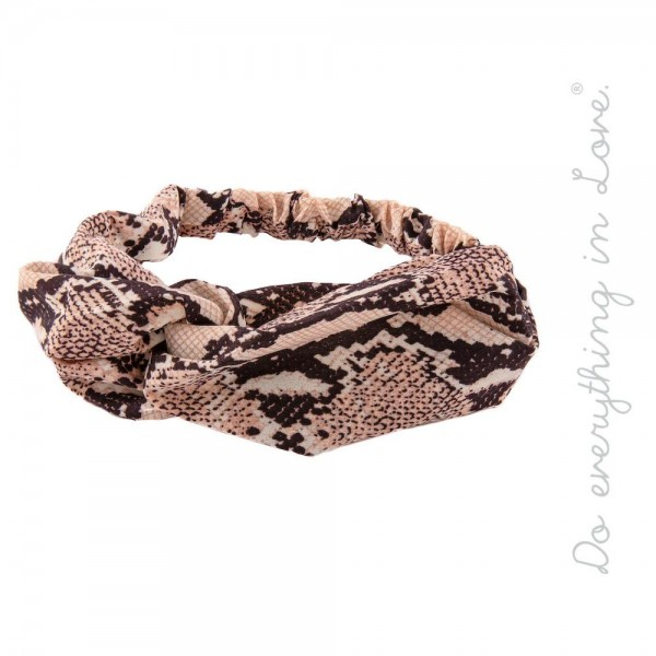 Do everything in Love brand knotted snakeskin headband.  - One size fits most - 100% Polyester