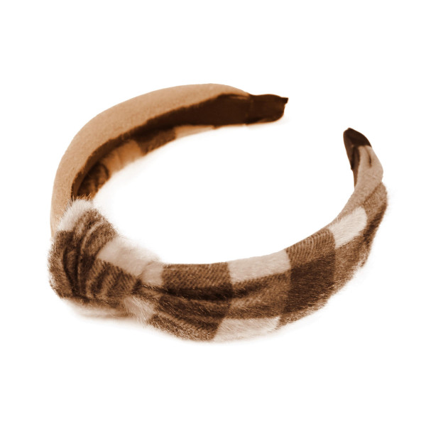 Do everything in Love brand faux fur plaid and solid knotted headband.  - One size fits most  - 100% Polyester