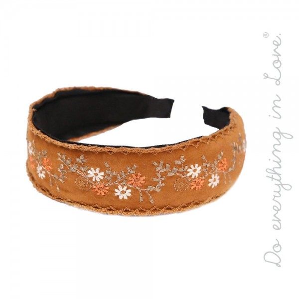 Do everything in Love brand flower embroidered headband.  - One size fits most adults - 100% Polyester