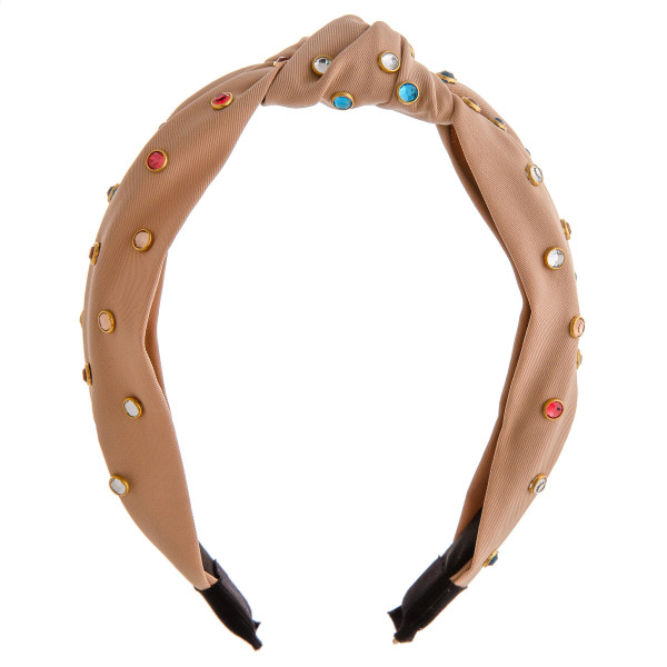 Knotted multicolor rhinestone stud headband.  - One size fits most - 100% Polyester