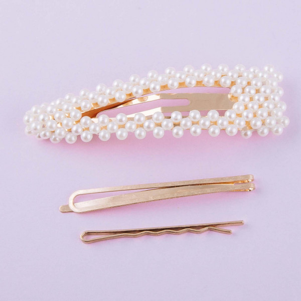 """Hair pin set featuring:   - 1 jumbo pearl beaded clip: Approximately 3.5"""" in length - 2 geometric metal pins: Approximately 2"""" in length"""