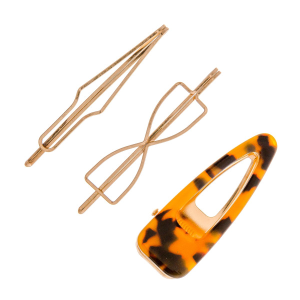 """Hair pin set featuring:   - 1 tortoise shell resin clip: Approximately 2.5"""" in length - 2 geometric metal pins: Approximately 3"""" in length"""