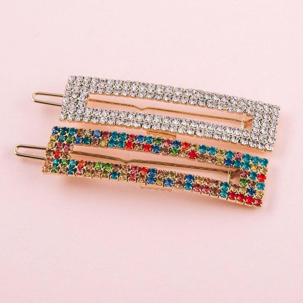 "Open rectangle cubic zirconia hair barrette. Approximately 2.5"" in length."