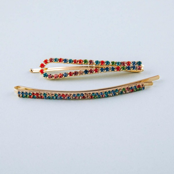 "Multicolor cubic zirconia open loop hair pin set. Features two hair pins. Approximately 2.5"" in length."