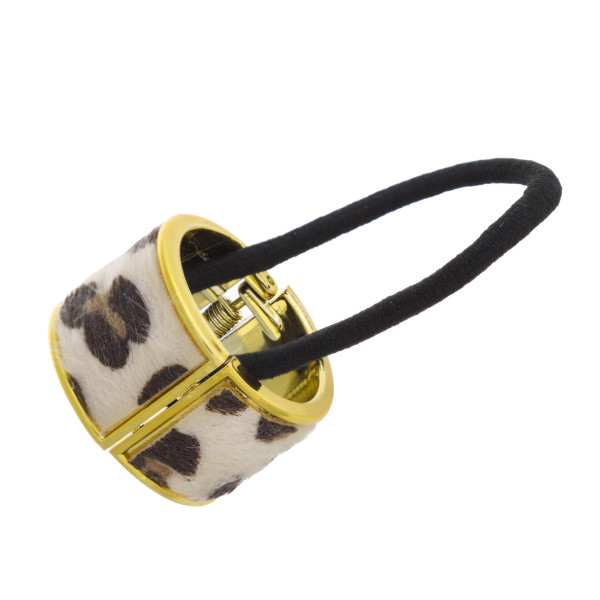 """Faux fur leopard print hinged cuff ponytail holder. Cuff approximately 1.25"""" in diameter."""