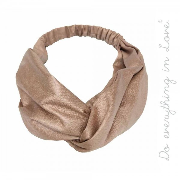 Do everything in Love brand knotted PU headband.  - One size fits most adults - 100% Polyester