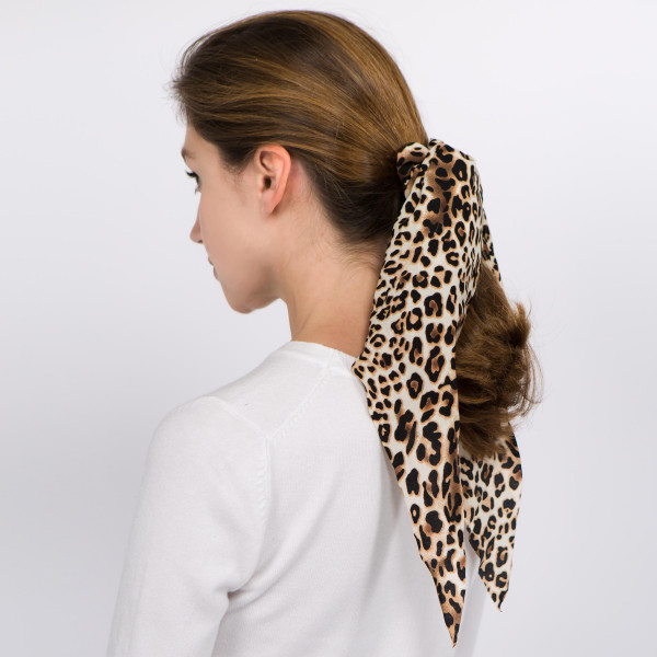 Wholesale long leopard print hair scarf scrunchie One L Polyester