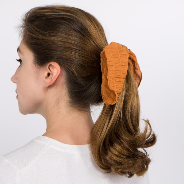 """Solid color waffle texture hair scarf scrunchie.  - One size  - Approximately 6"""" L - 100% Polyester"""