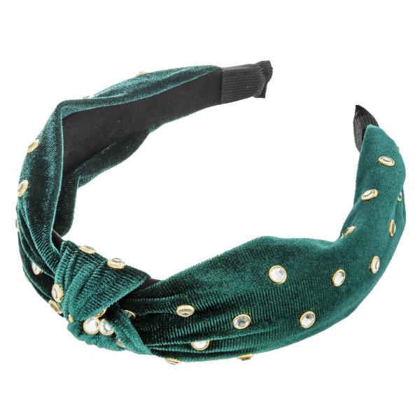 Rhinestone studded velvet knot headband.   - One size fits most - 100% Acylice