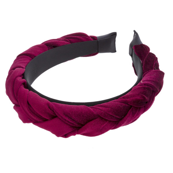 Thick braided velvet headband.  - One size fits most - 100% Polyester