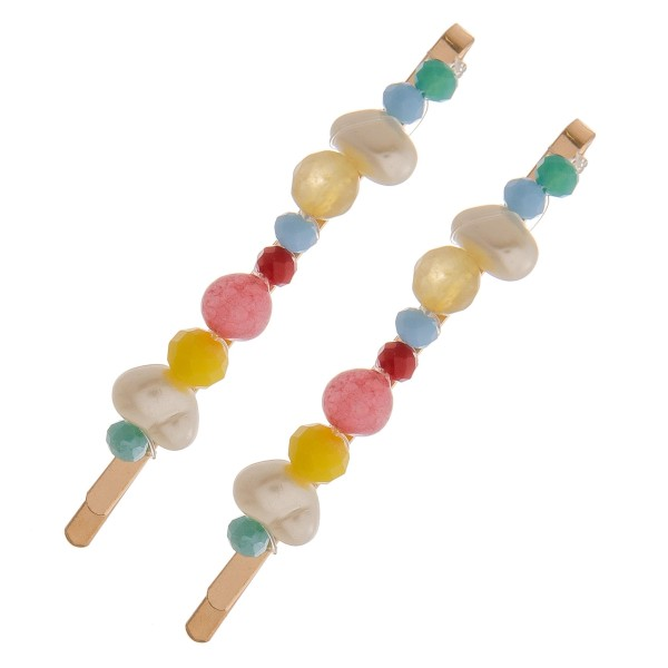 "Multicolor beaded pearl hair pin set of two. Approximately 2.5"" in length."
