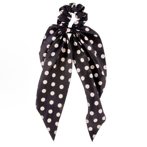"""Polka dot hair scarf scrunchie.  - One size  - Approximately 12"""" L - 100% Polyester"""