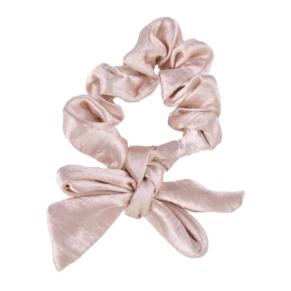 Solid color metallic bow tie hair scrunchie.  - One size  - 100% Polyester