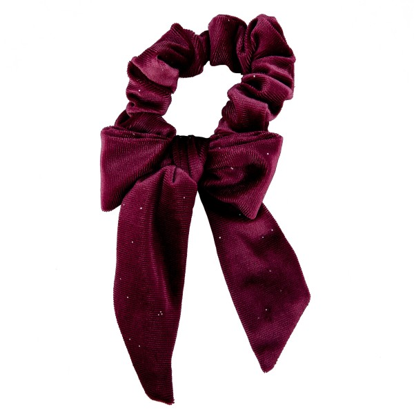 Solid color velvet glitter bow tie hair scrunchie.   - One size  - 100% Polyester