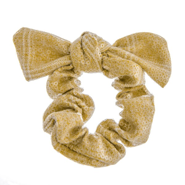 Wholesale sequins plaid bow hair scrunchie One Polyester