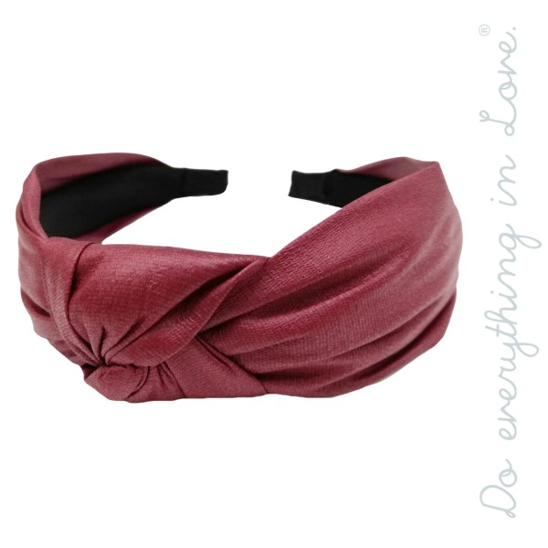 Do everything in Love brand solid color faux leather knotted headband.  - One size fits most - 100% Polyester