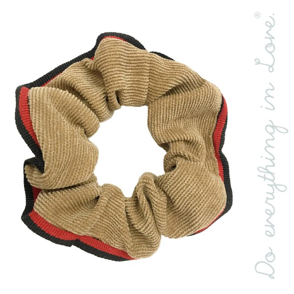 Do everything in Love brand corduroy striped trim scrunchie.  - One size  - 100% Polyester