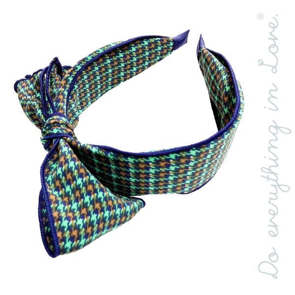Do everything in Love brand houndstooth bow headband.  - One size fits most - 100% Polyester