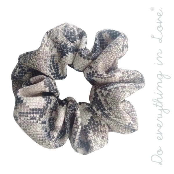 Soft snakeskin hair scrunchie.