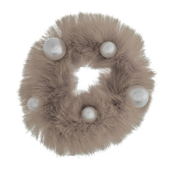 Wholesale solid color faux fur pearl hair scrunchie One Polyester