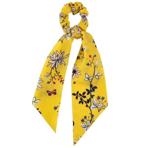 "Butterfly floral hair scarf scrunchie.  - One size  - Approximately 12"" in length - 100% Polyester"