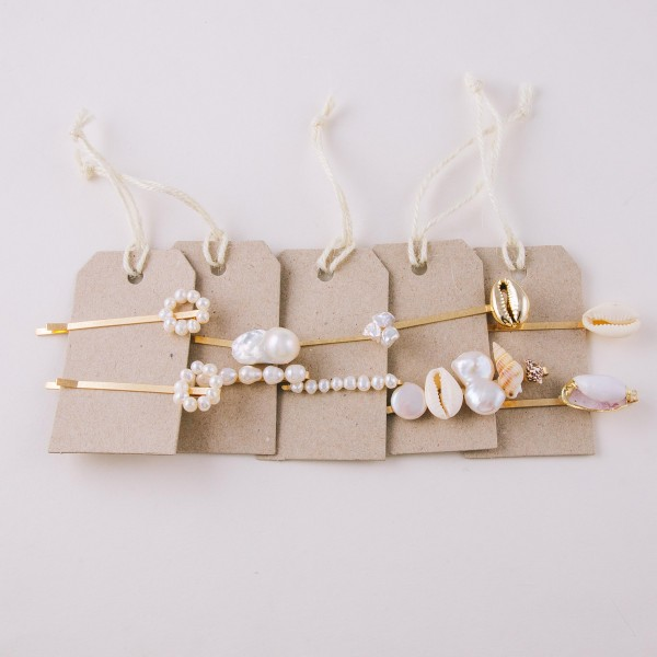 "Faux pearl puka shell seashell hair pin set of two.  - Approximately 2.5"" in length"