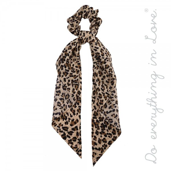 """Do everything in Love brand leopard print hair scarf scrunchie.  - Approximately 12"""" L - 100% Polyester"""