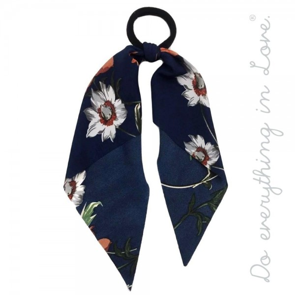 """Do everything in Love brand floral print ponytail scarf.  - One size - Approximately 12"""" L - 100% Polyester"""
