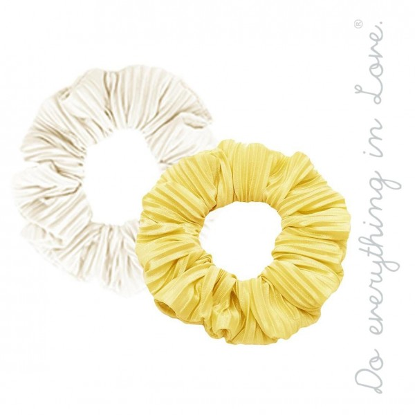 Do everything in Love solid pleated hair scrunchie set of two.  - 2pcs/pack - One size - 100% Polyester