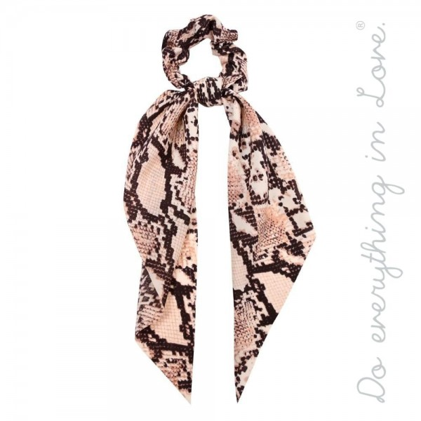 "Do everything in Love brand snakeskin hair scarf scrunchie.  - One size - Approximately 11"" L - 100% Polyester"
