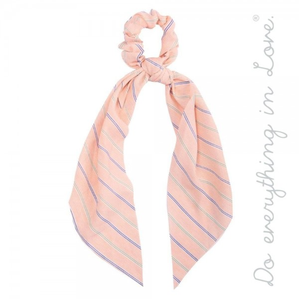"""Do everything in Love brand pin stripe hair scarf scrunchie.  - One size - Approximately 9"""" L - 100% Polyester"""
