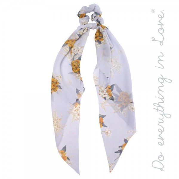 """Do everything in Love brand sheer floral print hair scarf scrunchie.  - One size - Approximately 18"""" L - 100% Polyester"""