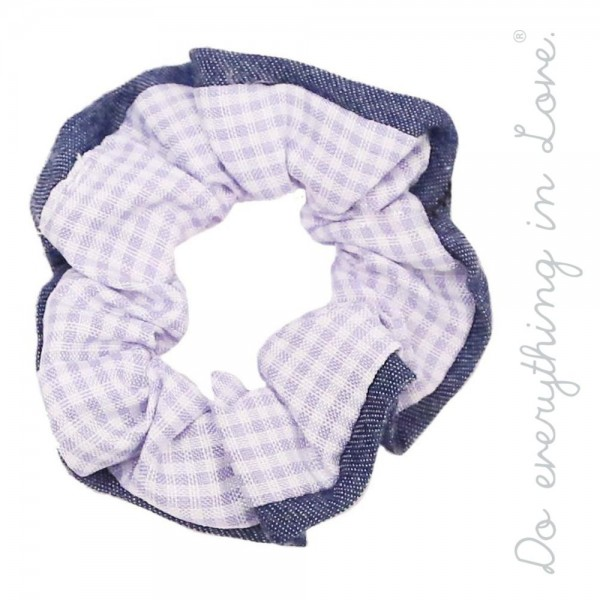 Do everything in Love brand checkered plaid hair scrunchie with denim binding.  - One size  - 100% Polyester