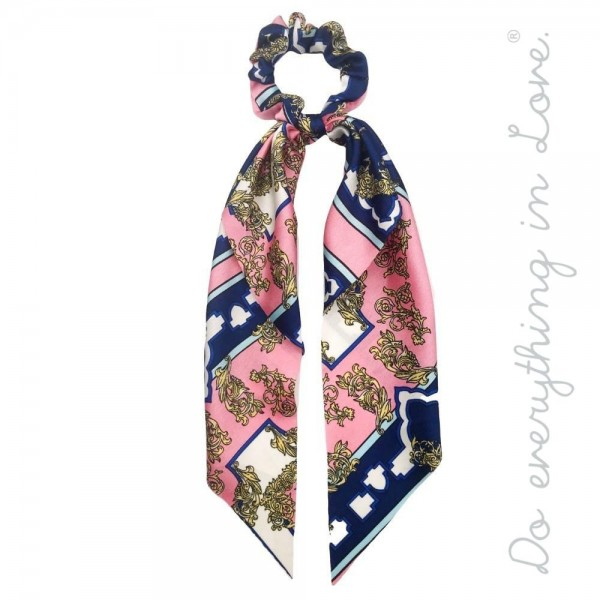"Do everything in Love brand designer print inspired hair scarf scrunchie.  - One size  - Approximately 12"" L - 100% Polyester"