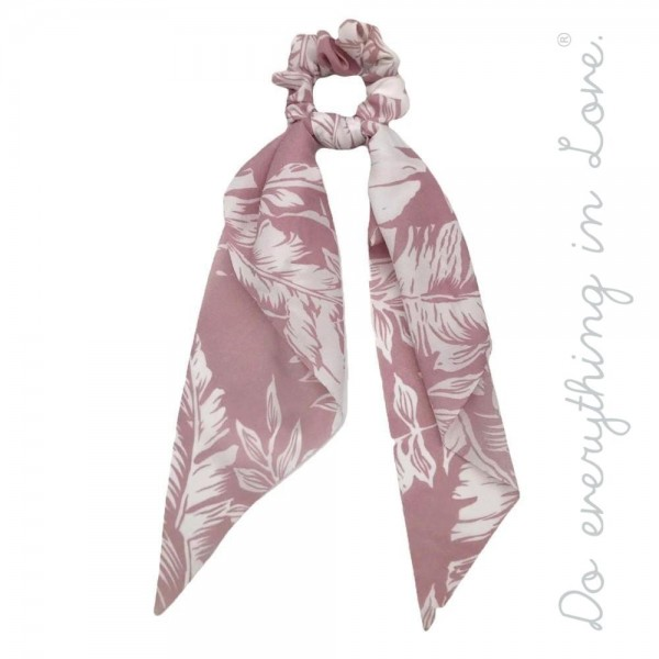 """Do everything in Love brand tropical print hair scarf scrunchie.  - One size - Approximately 11"""" L - 100% Polyester"""