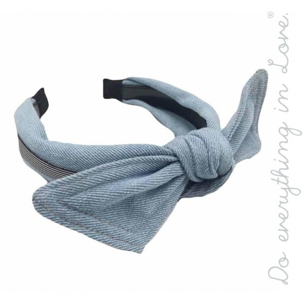 Wholesale do everything Love brand knotted denim bow headband One Polyester